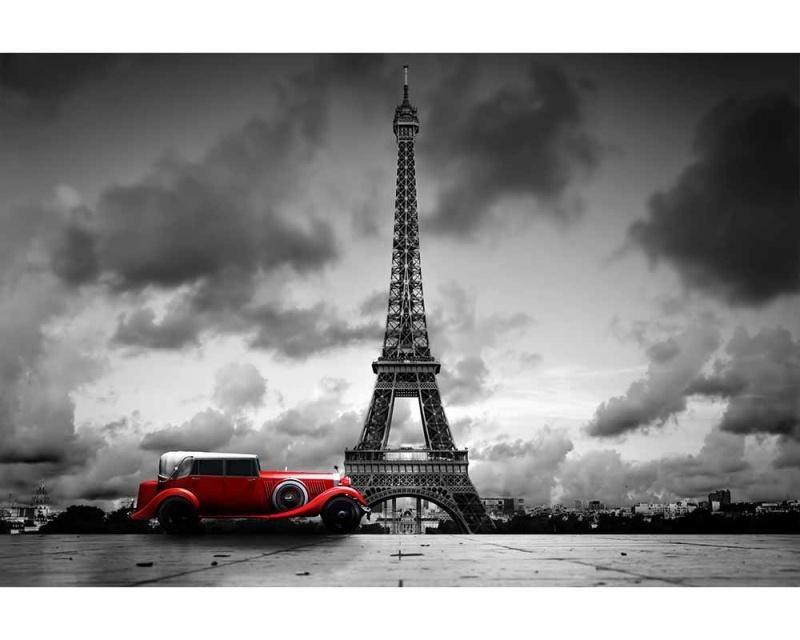 Vliesové fototapety na zeď Retro auto v Paříží | MS-5-0027 | 375x250 cm - Fototapety vliesové