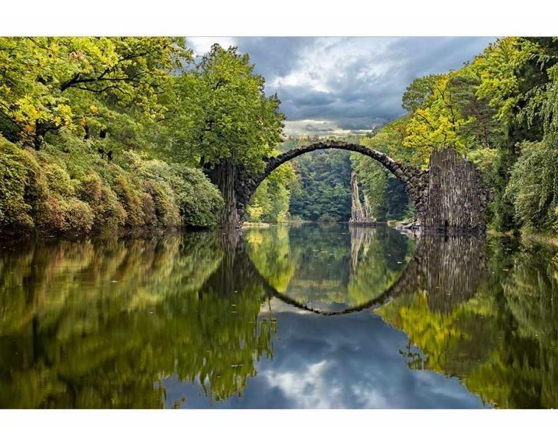 Vliesové fototapety na zeď Krajina s obloukovým mostem | MS-5-0060 | 375x250 cm - Fototapety vliesové