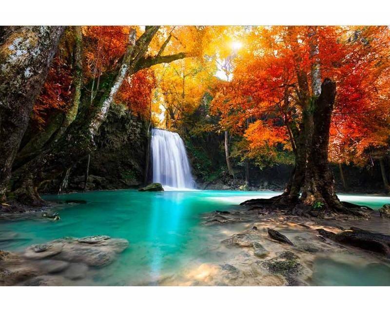 Vliesové fototapety na zeď Vodopád uprostřed lesa | MS-5-0083 | 375x250 cm - Fototapety vliesové