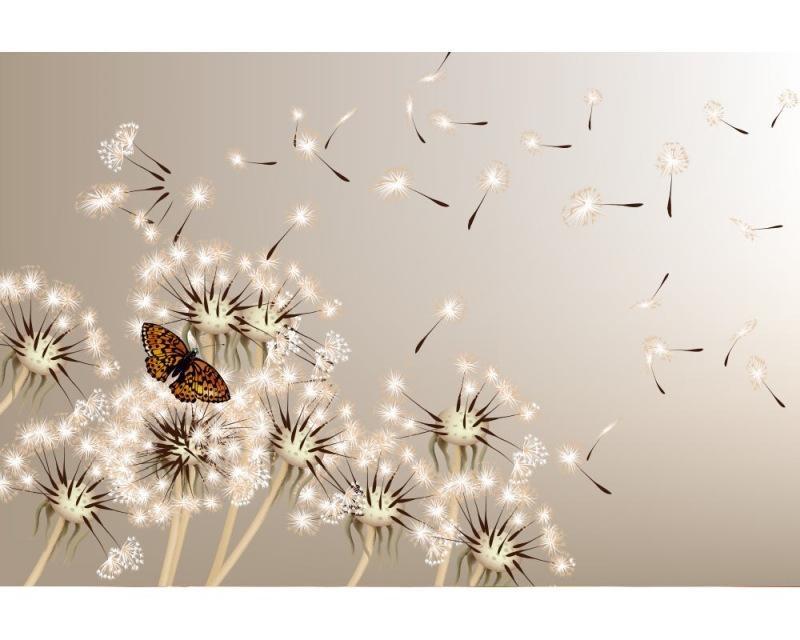 Vliesové fototapety na zeď Pampeliška a motýl | MS-5-0148 | 375x250 cm - Fototapety vliesové