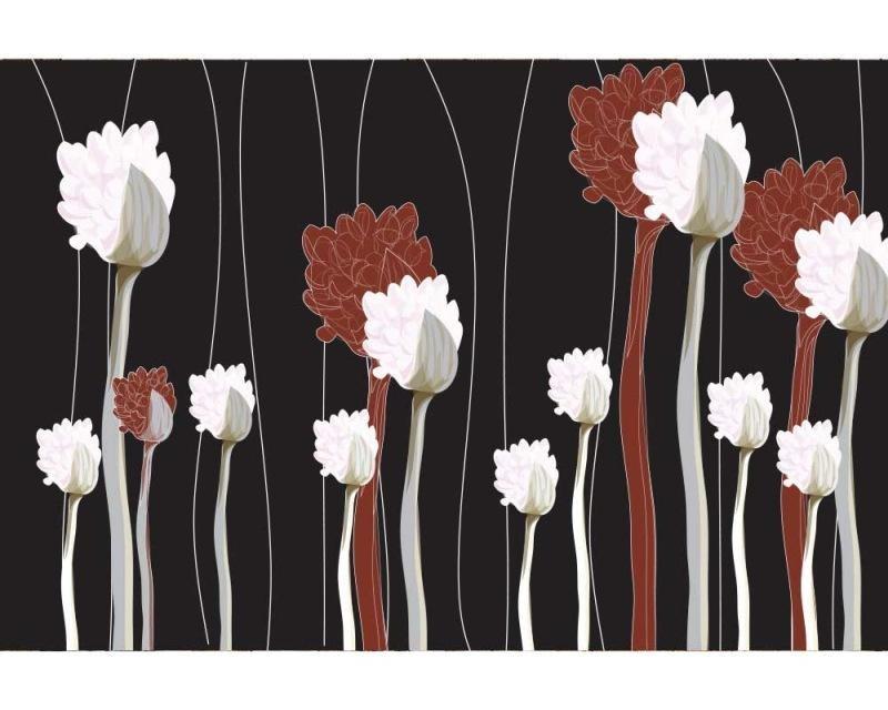 Vliesové fototapety na zeď Kytky na černém pozadí | MS-5-0155 | 375x250 cm - Fototapety vliesové