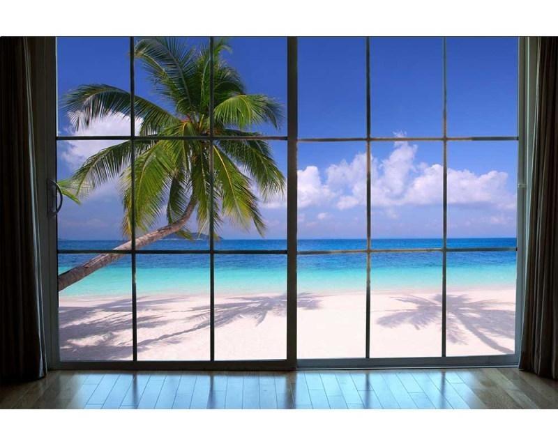Vliesové fototapety na zeď Pláž za oknem | MS-5-0203 | 375x250 cm - Fototapety vliesové