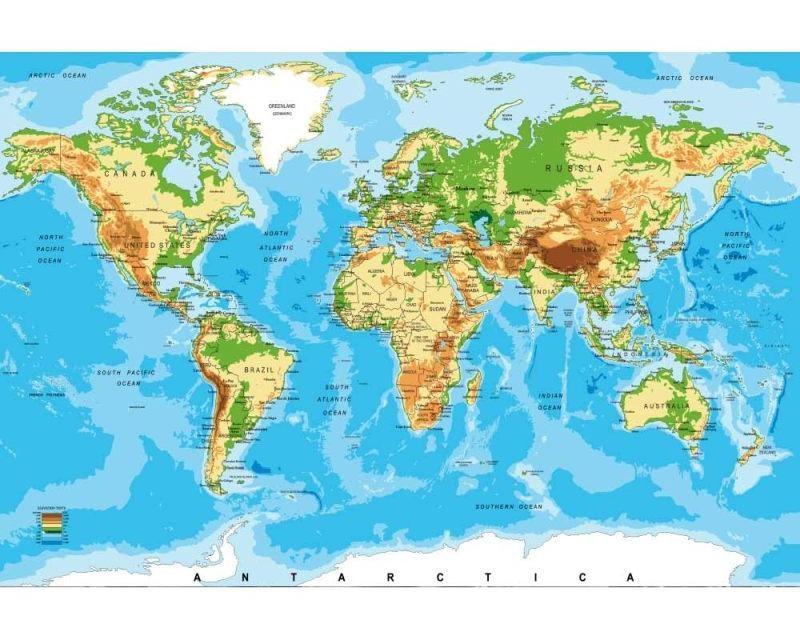 Vliesové fototapety na zeď Mapa světa | MS-5-0261 | 375x250 cm - Fototapety vliesové