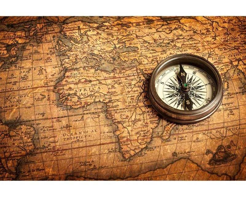 Vliesové fototapety na zeď Kompas a mapa | MS-5-0264 | 375x250 cm - Fototapety vliesové