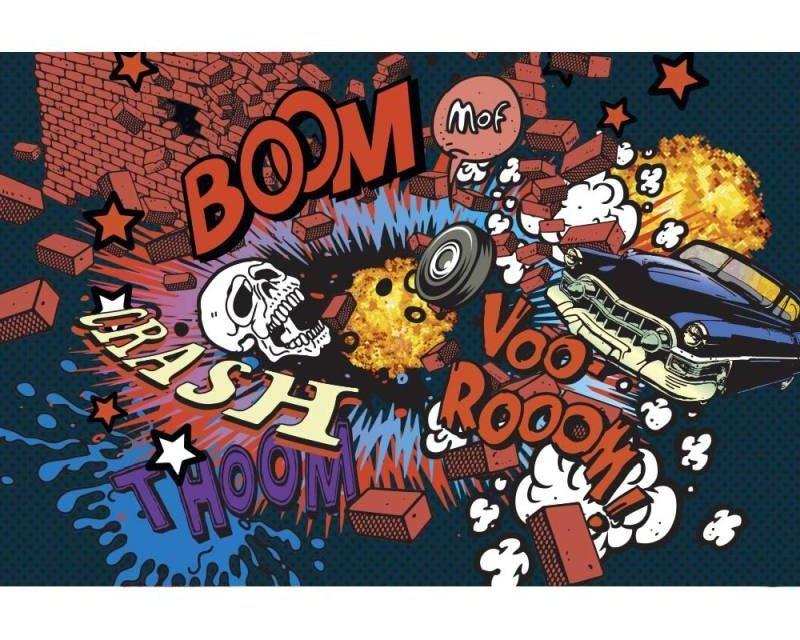 Vliesové fototapety na zeď Kreslená autonehoda | MS-5-0320 | 375x250 cm - Fototapety vliesové