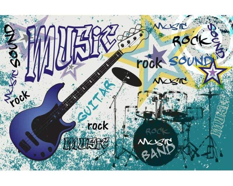 Vliesové fototapety na zeď Modrá kytara | MS-5-0323 | 375x250 cm - Fototapety vliesové