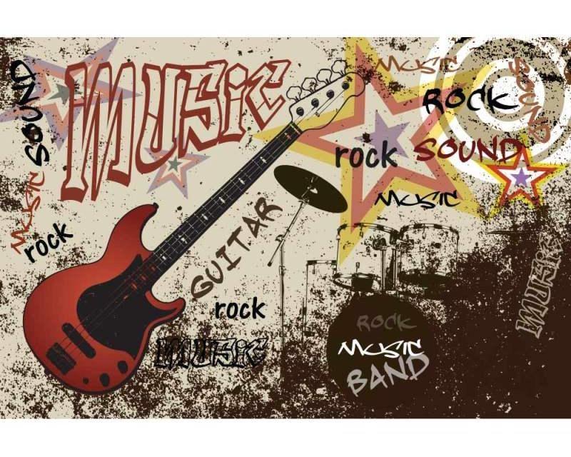 Vliesové fototapety na zeď Červená kytara | MS-5-0324 | 375x250 cm - Fototapety vliesové