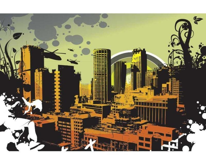 Vliesové fototapety na zeď Nakreslené město | MS-5-0325 | 375x250 cm - Fototapety vliesové