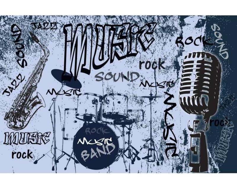Vliesové fototapety na zeď Modrá hudba | MS-5-0329 | 375x250 cm - Fototapety vliesové