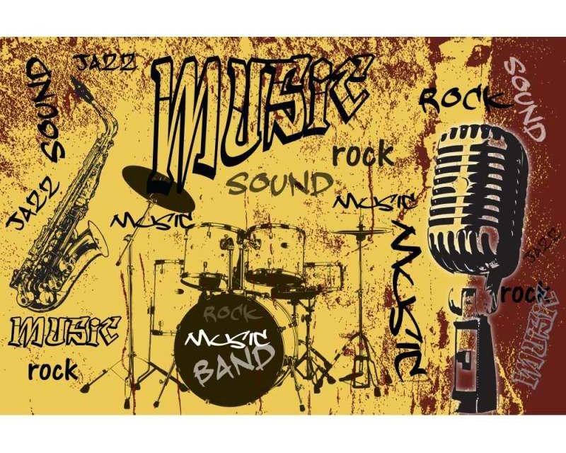 Vliesové fototapety na zeď Žlutá hudba | MS-5-0330 | 375x250 cm - Fototapety vliesové