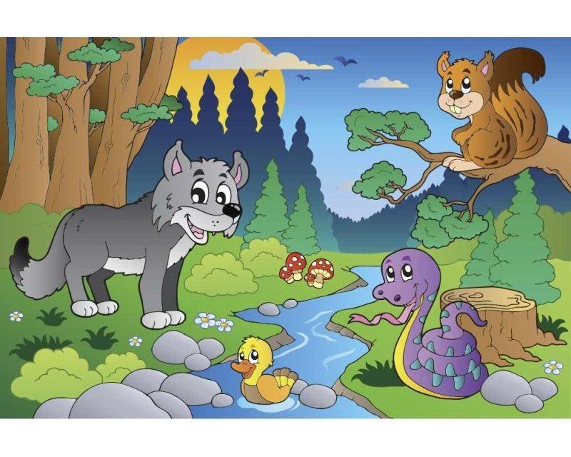 Vliesové fototapety na zeď Zvířátka v lese | MS-5-0336 | 375x250 cm - Fototapety vliesové