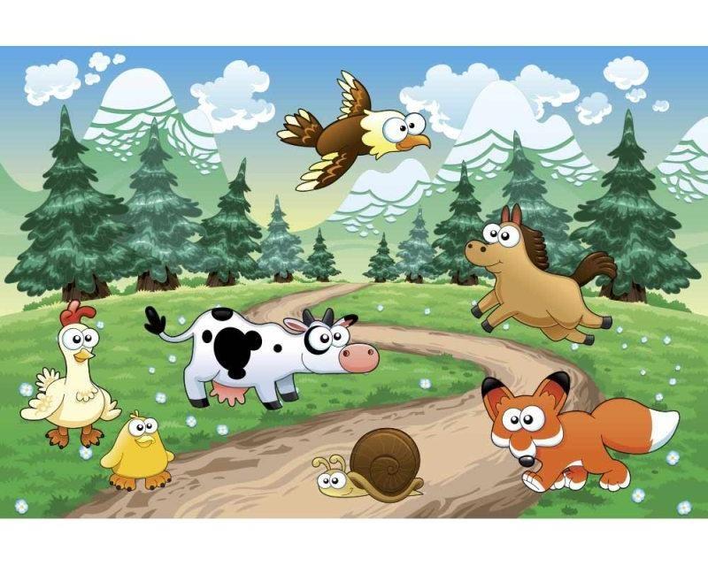 Vliesové fototapety na zeď Zvířátka u lesa | MS-5-0340 | 375x250 cm - Fototapety vliesové