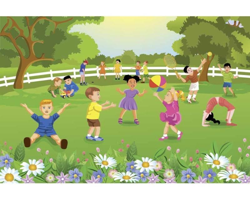 Vliesové fototapety na zeď Děti na zahradě | MS-5-0343 | 375x250 cm - Fototapety vliesové