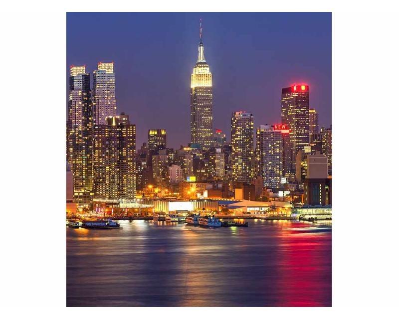 Vliesové fototapety na zeď Manhattan v noci | MS-3-0003 | 225x250 cm - Fototapety vliesové
