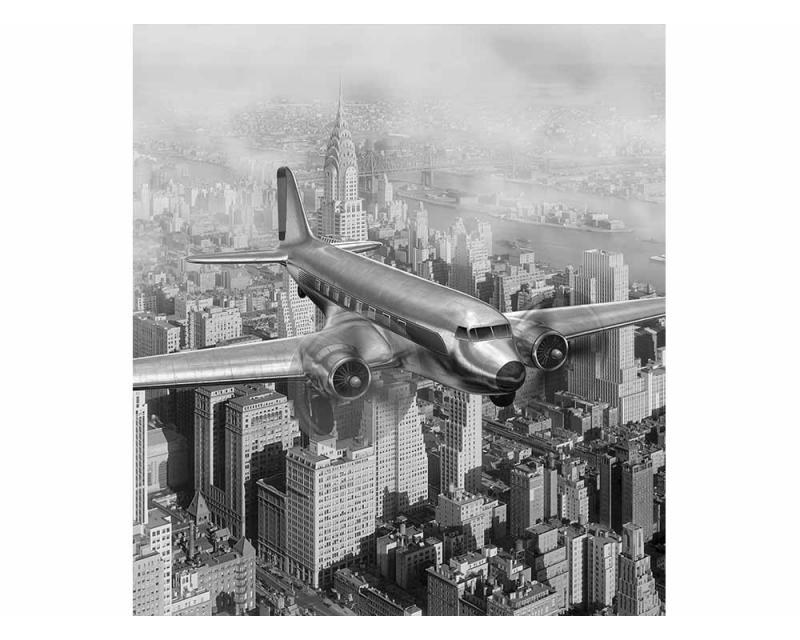 Vliesové fototapety na zeď Letadlo nad městem   MS-3-0006   225x250 cm - Fototapety vliesové