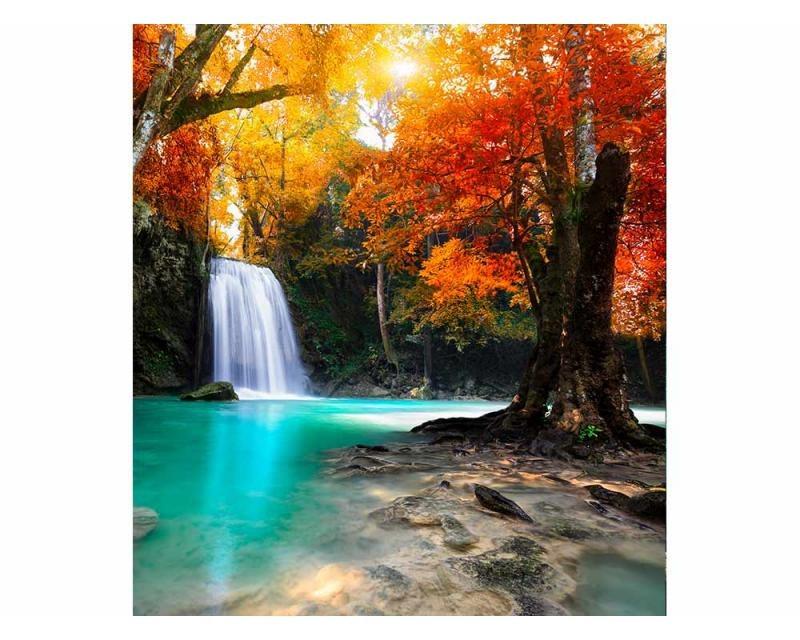 Vliesové fototapety na zeď Vodopád uprostřed lesa | MS-3-0083 | 225x250 cm - Fototapety vliesové