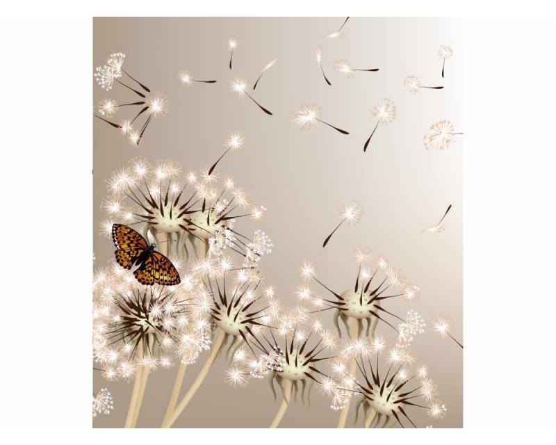 Vliesové fototapety na zeď Pampeliška a motýl | MS-3-0148 | 225x250 cm - Fototapety vliesové