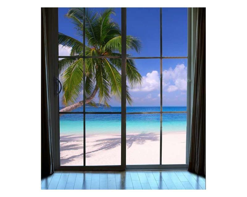 Vliesové fototapety na zeď Pláž za oknem | MS-3-0203 | 225x250 cm - Fototapety vliesové