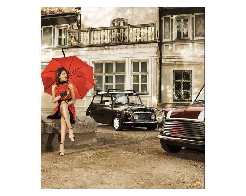 Vliesové fototapety na zeď Dáma v červeném   MS-3-0257   225x250 cm - Fototapety vliesové