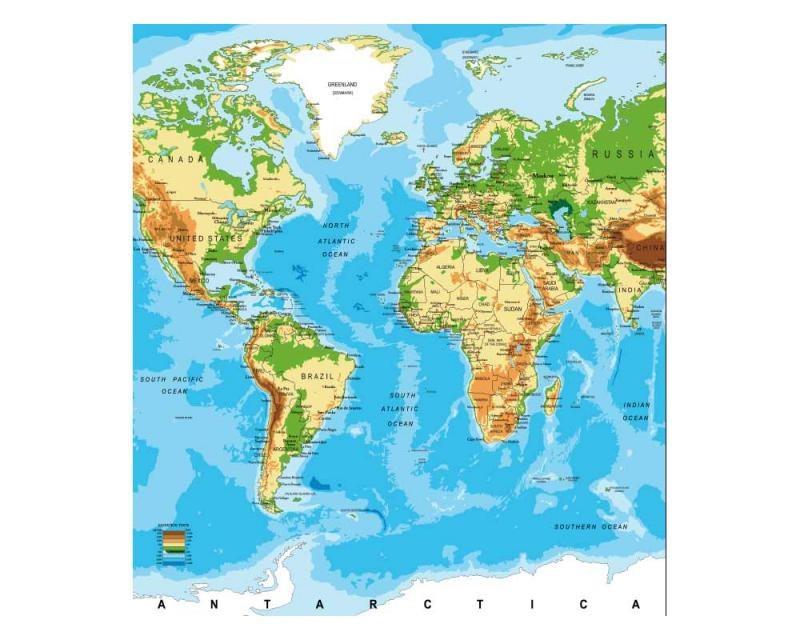 Vliesové fototapety na zeď Mapa světa | MS-3-0261 | 225x250 cm - Fototapety vliesové