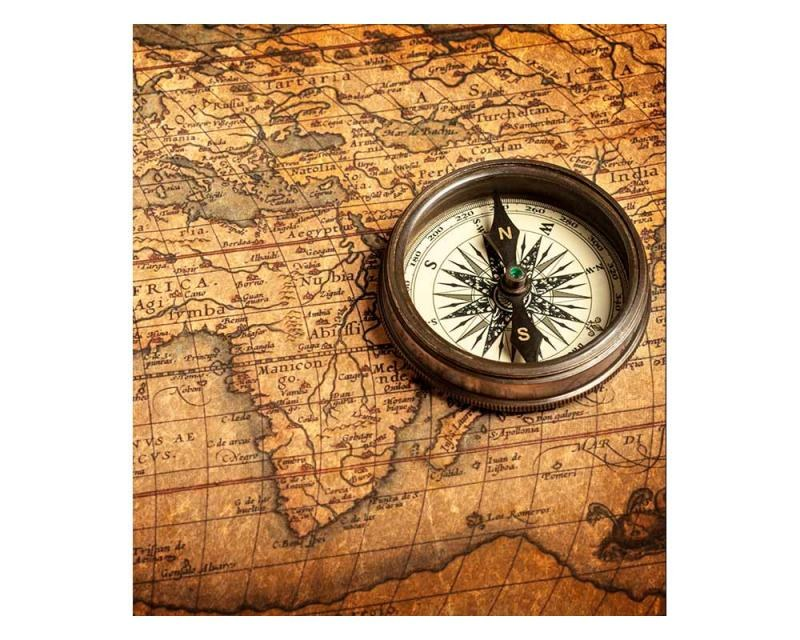 Vliesové fototapety na zeď Kompas a mapa | MS-3-0264 | 225x250 cm - Fototapety vliesové