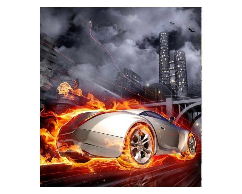 Vliesové fototapety na zeď Auto v plamenech | MS-3-0314 | 225x250 cm - Fototapety vliesové