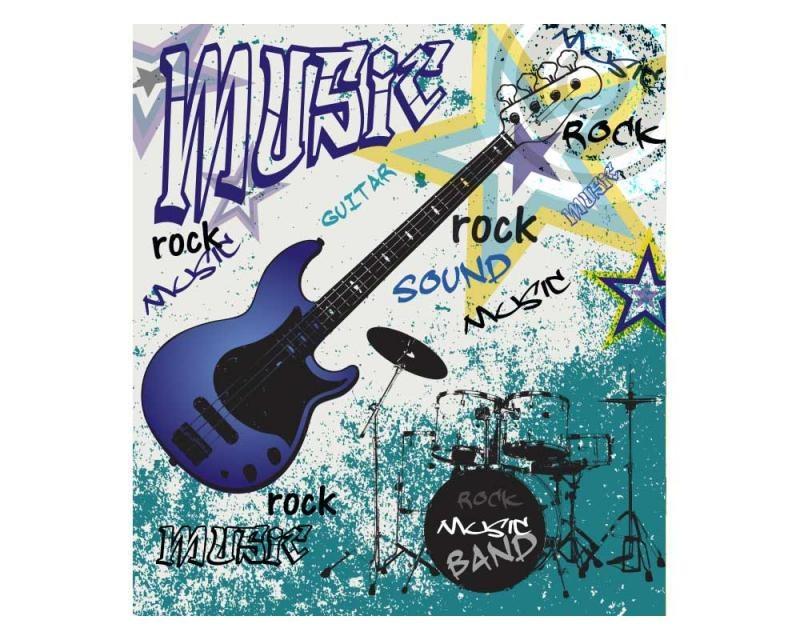 Vliesové fototapety na zeď Modrá kytara | MS-3-0323 | 225x250 cm - Fototapety vliesové
