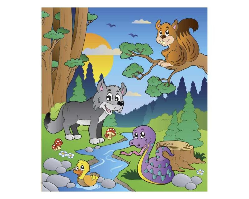 Vliesové fototapety na zeď Zvířátka v lese   MS-3-0336   225x250 cm - Fototapety vliesové