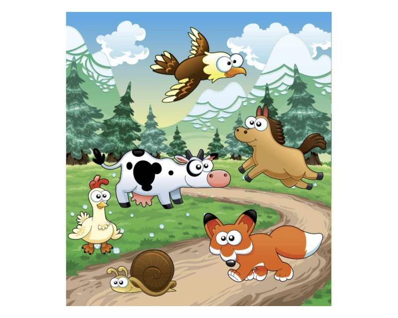 Vliesové fototapety na zeď Zvířátka u lesa | MS-3-0340 | 225x250 cm - Fototapety vliesové