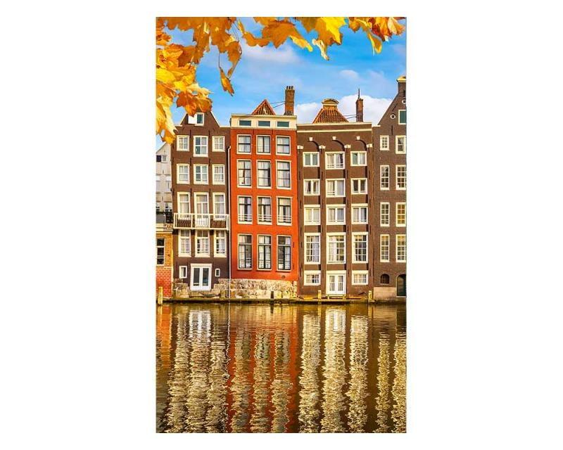 Vliesové fototapety na zeď Domy v Amsterdamu | MS-2-0024 | 150x250 cm - Fototapety vliesové