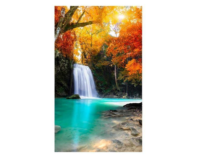 Vliesové fototapety na zeď Vodopád uprostřed lesa | MS-2-0083 | 150x250 cm - Fototapety vliesové