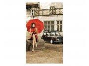 Vliesové fototapety na zeď Dáma v červeném | MS-2-0257 | 150x250 cm Fototapety vliesové