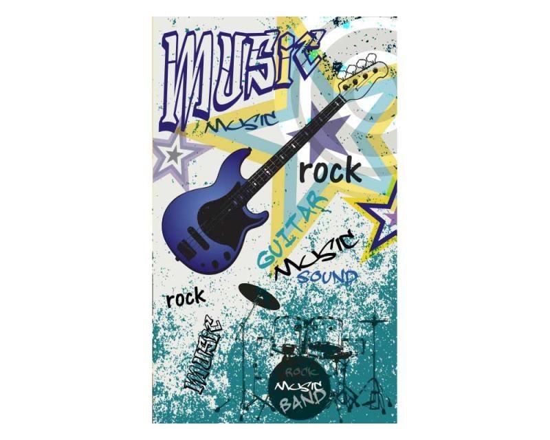 Vliesové fototapety na zeď Modrá kytara | MS-2-0323 | 150x250 cm - Fototapety vliesové