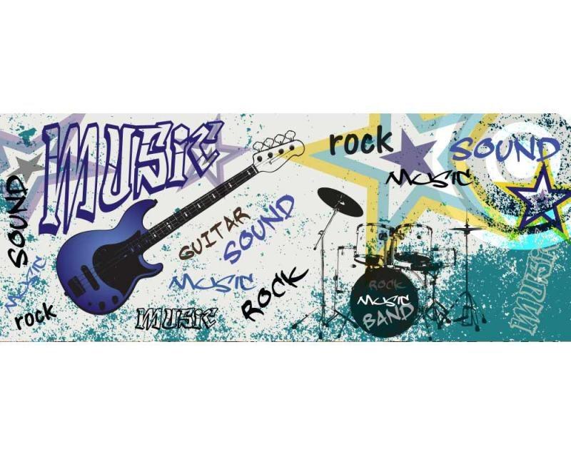 Panoramatické vliesové fototapety na zeď Modrá kytara | MP-2-0323 | 375x150 cm - Fototapety vliesové