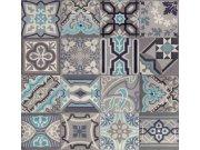 Vinylová tapeta Ceramics retro kachličky šedé 270-0169 | šíře 67,5 cm Tapety skladem