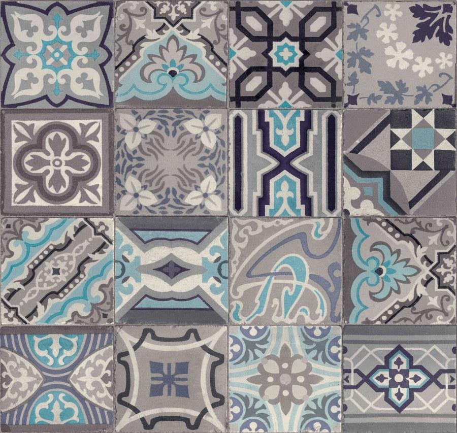 Vinylová tapeta Ceramics retro kachličky šedé 270-0169 | šíře 67,5 cm - Tapety skladem