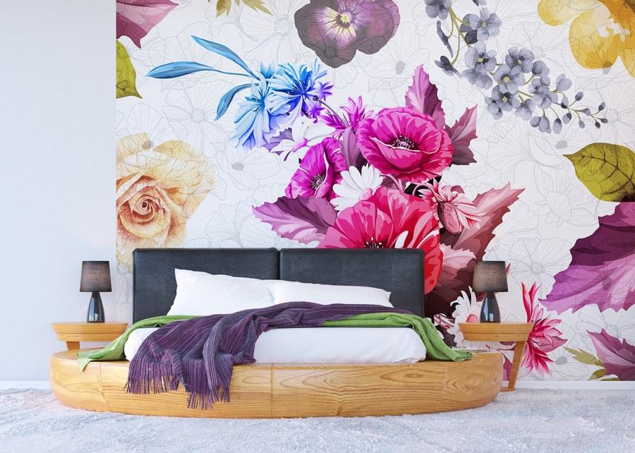 Vliesová fototapeta Květinová stěna FTNXXL-1229 | 360x270 cm - Vliesové fototapety AG