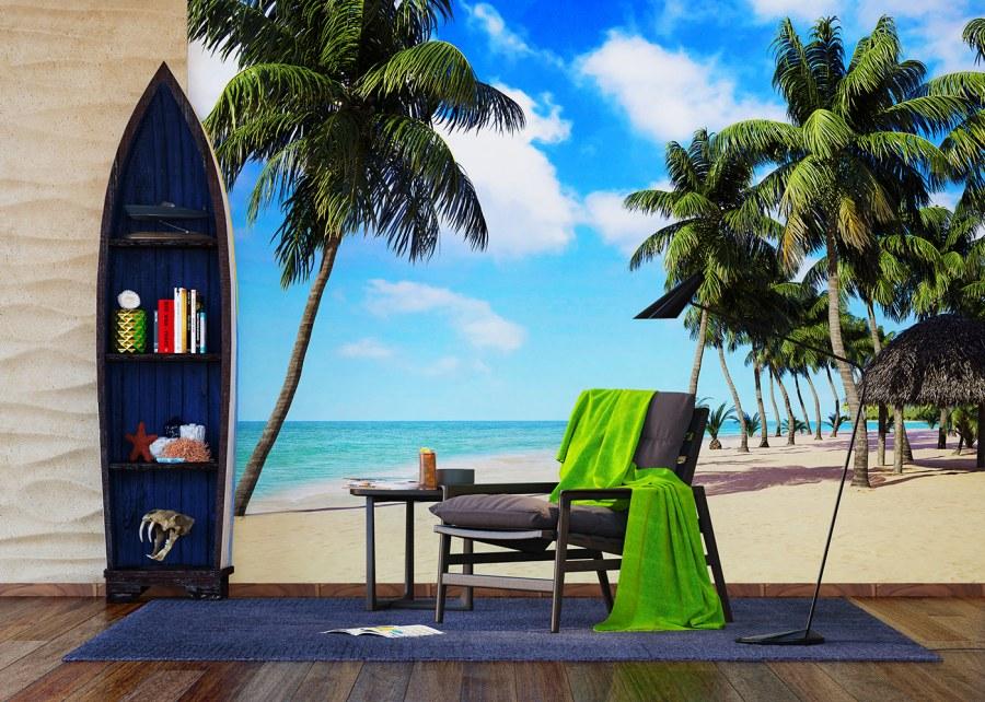 Vliesová fototapeta Palmy na pláži FTNXXL-1234 | 360x270 cm - Vliesové fototapety AG