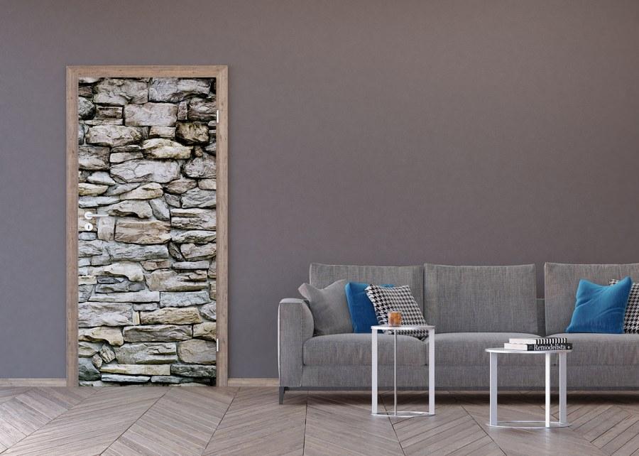 Vliesová fototapeta Kamenná zeď hnědá FTNV-2945   90x202 cm - Fototapety na dveře
