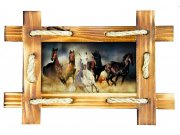 Samolepicí dekorace Koně v rámu SM-3432, rozměry 42,5 x 65 cm Samolepící dekorace na zeď