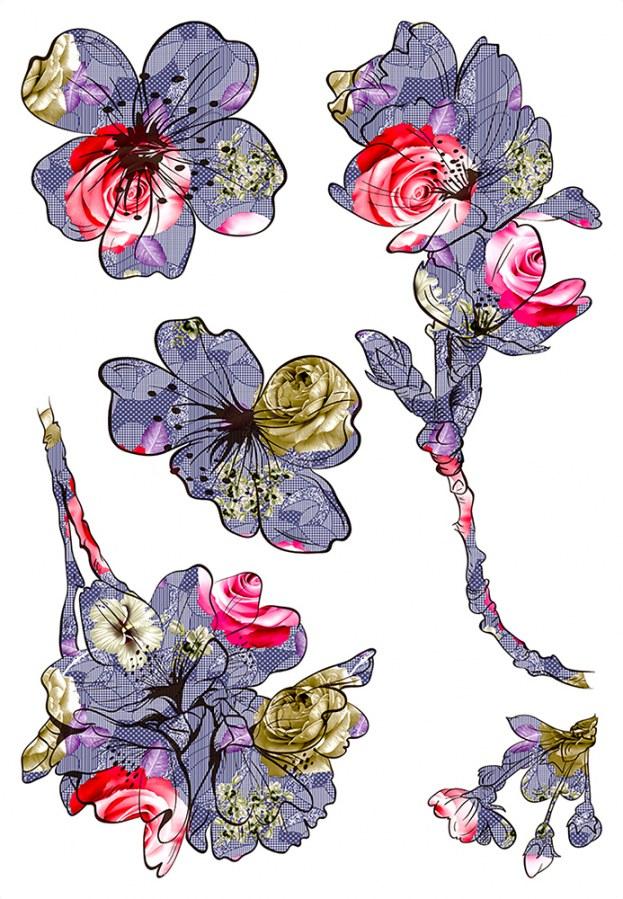 Samolepicí dekorace Květy SM-3444, rozměry 42,5 x 65 cm - Samolepící dekorace na zeď
