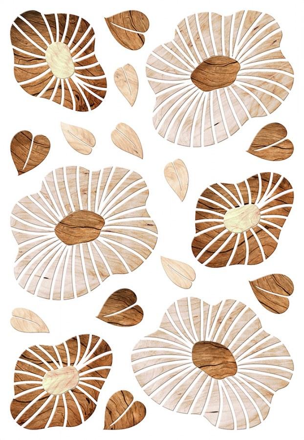 Samolepicí dekorace Dřevěné květy SM-3445, rozměry 42,5 x 65 cm - Samolepící dekorace na zeď
