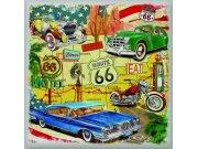 Samolepicí dekorace Route 66 auta SS-3850, 30x30 cm Samolepící dekorace na zeď