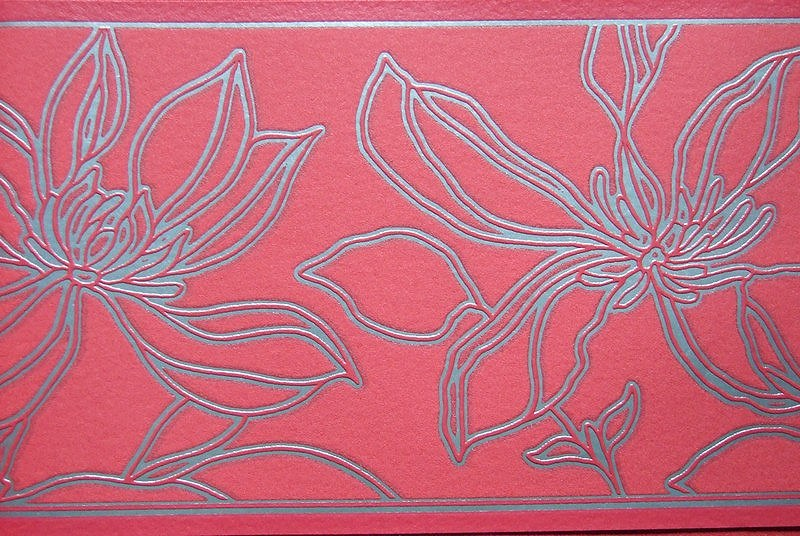 Bordura Barbara Becker vínový květinový vzor 719567 - Výprodej
