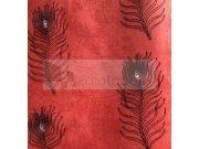 Luxusní tapeta Peacock červená černé paví oka 6631 Tapety Rasch - Tapety Brilliant
