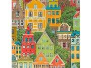 Vinylová omyvatelná tapeta barevné budovy 5671-02 | Lepidlo zdarma Tapety Vavex - Tapety Vavex 2022