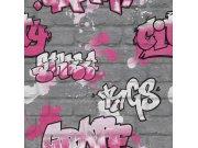 Šedá papírová tapeta graffity Aldora III 237818 | Lepidlo zdarma Tapety Rasch - Tapety Aldora