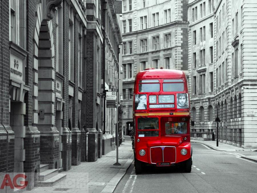 Fototapeta AG Londýnský autobus FTXXL-1432 | 360x255 cm - Fototapety na zeď