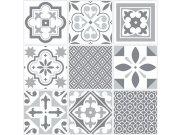 Samolepicí pvc dlažba šedobílý retro ornament 2745061 Samolepící dlažba