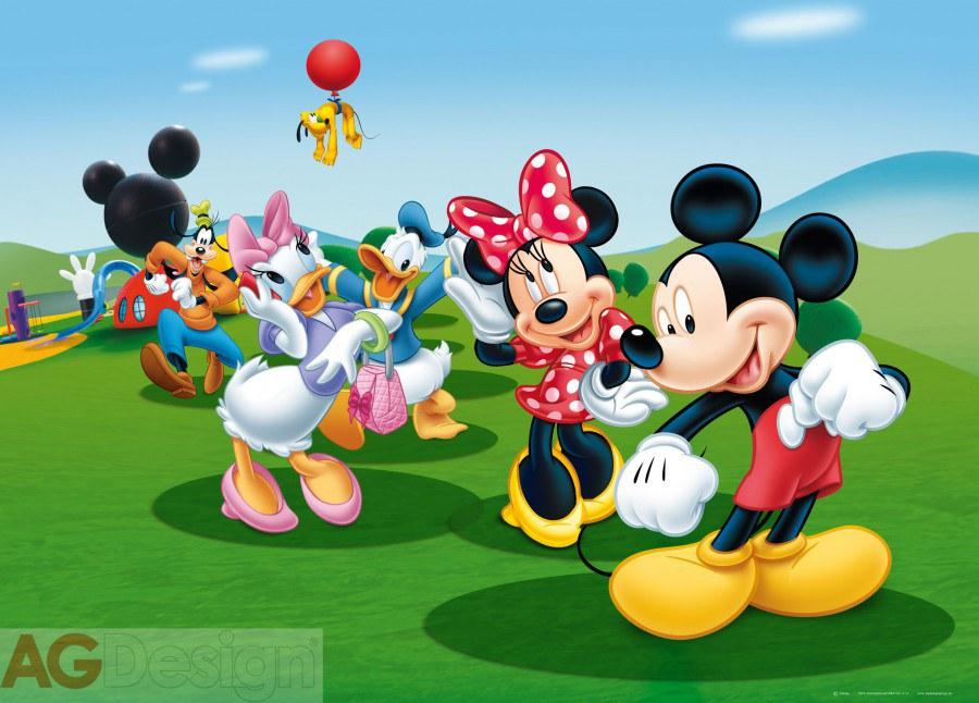 Dětská papírová fototapeta AG Design Mickey a kamarádi FTDM-0706, rozměry 160 x 115 cm